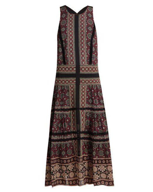 Ezri Crochet-trimmed Printed Crepe De Chine Dress - Burgundy Sea New York E3Vl4Simv