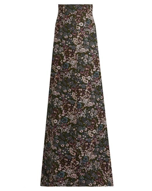 Miu Miu | Blue Floral-jacquard Maxi Skirt | Lyst