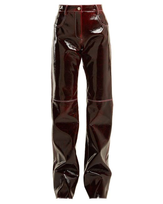 MSGM - Brown Relaxed Crinkle-effect Vinyl Trousers - Lyst