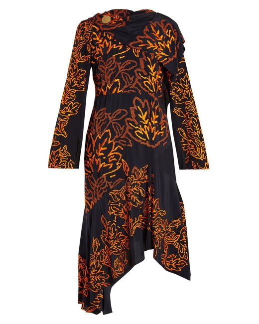 Peter Pilotto - Blue Floral Embroidered Silk Crepe Dress - Lyst