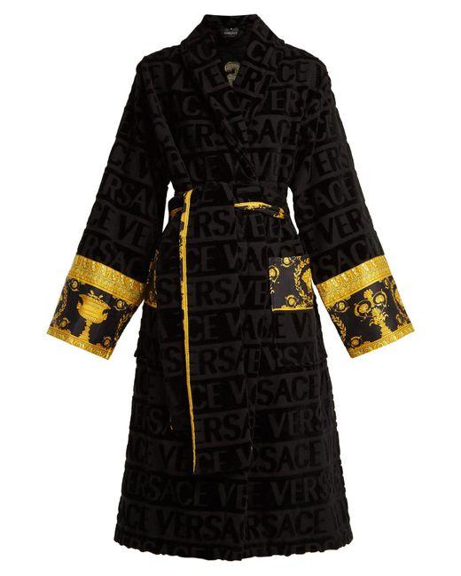 Versace - Black Logo Jacquard Baroque Print Cotton Bathrobe - Lyst