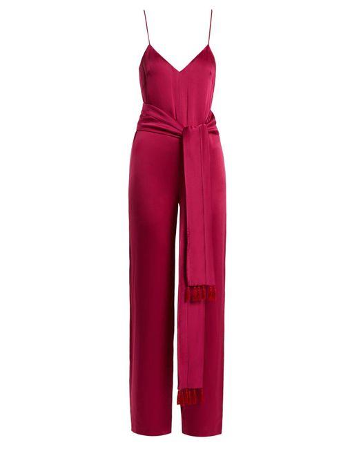 Galvan - Pink Cuzco Tassel Embellished Wide Leg Satin Jumpsuit - Lyst