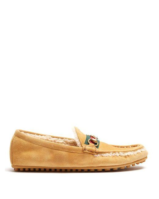 Shearling-lined driving suede loafers Gucci frNvVe