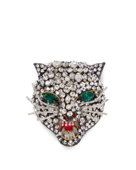 Gucci - Multicolor Angry Cat Crystal Embellished Head Brooch - Lyst