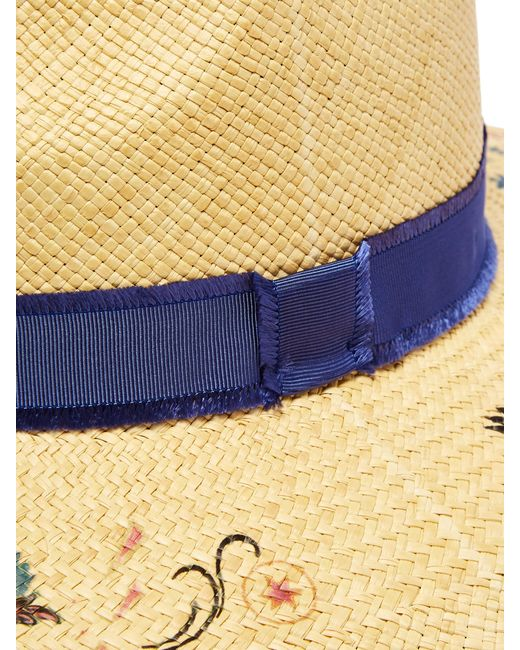 2b572b2a ... Etro - Natural Grosgrain-trimmed Floral-print Straw Hat - Lyst ...