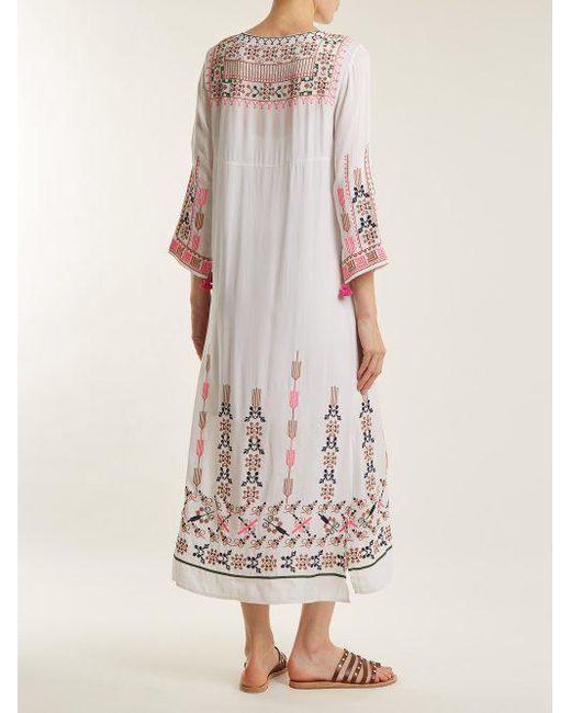 Footlocker Pictures Cheap Price Josefina geometric-embroidered silk dress Figue Cheap Real Authentic GbyQquYXg