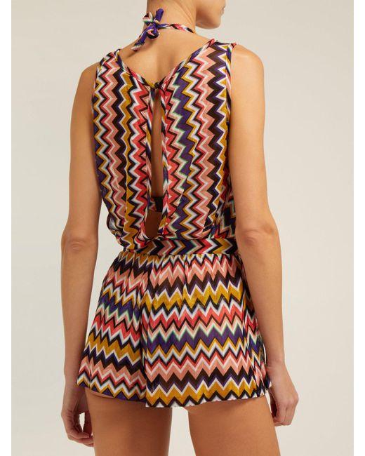 c61a7d3b85 ... Missoni - Multicolor Multicoloured Zigzag Playsuit - Lyst ...