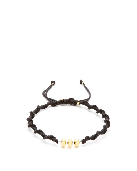 Black Dakini - Metallic Gold Vermeil And Cord Bracelet for Men - Lyst