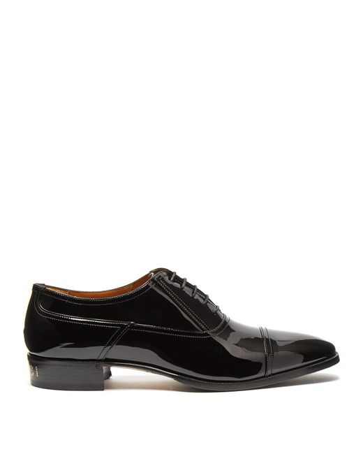 Gucci Black Vernice Patent Leather Derby Shoes for men