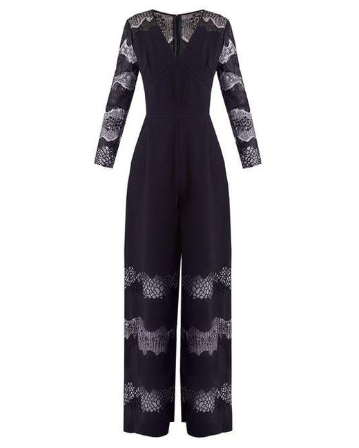 Buy Cheap Clearance Store Faye lace-panelled crepe jumpsuit Huishan Zhang Buy Cheap Get To Buy New Arrival Fashion Outlet Footaction Hps2ap