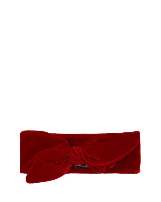 House of Lafayette - Red Tie-bow Velvet Headband - Lyst