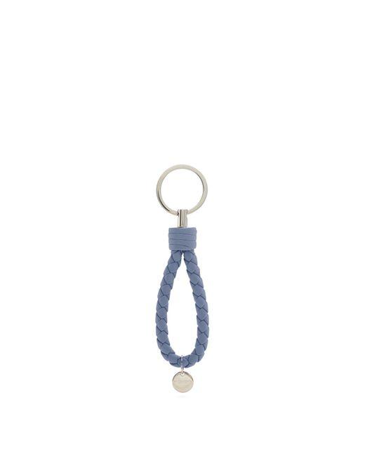 Bottega Veneta | Blue Intrecciato Leather Knot Key Ring | Lyst