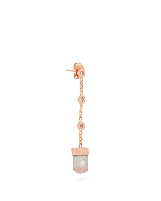 Jacquie Aiche | Green Diamond, Tourmaline & Rose-gold Earring | Lyst