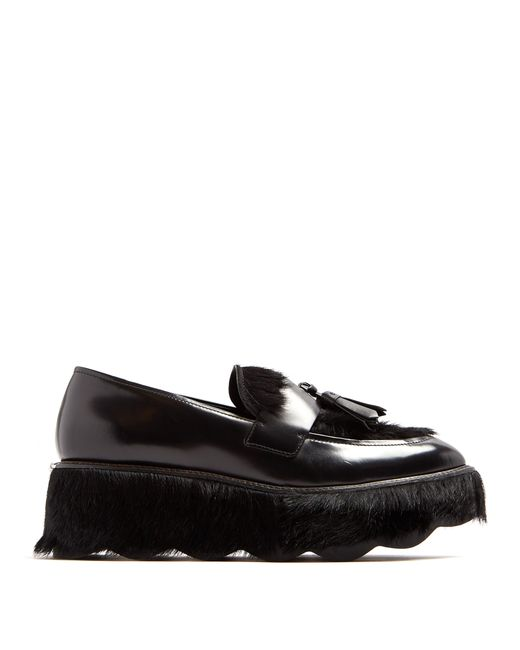 58629184daf Prada - Black Fur And Leather Flatform Loafers - Lyst ...