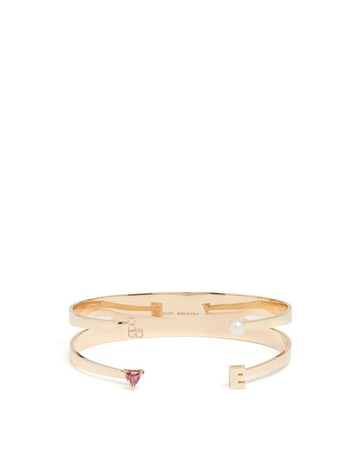 Delfina Delettrez | Metallic Diamond, Rhodolite, Pearl & Pink-gold Cuff | Lyst