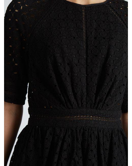 Jo de la rosa black silk dress with lace trim