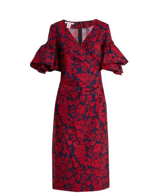 Oscar de la Renta - Red Decorative Floral-print Cotton-blend Poplin Dress - Lyst
