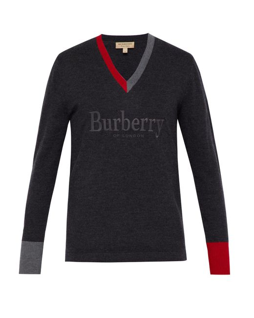 de5a1211aca9 Lyst - Burberry Embroidered Logo Merino Wool V-neck Sweater in Gray ...