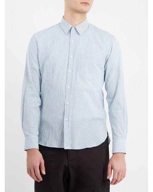 Point-collar striped cotton-blend shirt De Bonne Facture Fast Delivery Sale Online Buy Cheap Low Shipping Fee vuzuOP