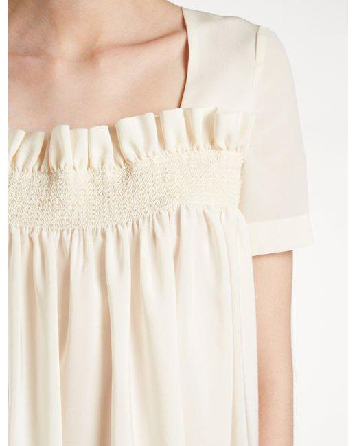 Smocked silk crepe de Chine top Stella McCartney Clearance Low Price Fee Shipping Low Price Cheap Online Geniue Stockist Cheap Online FtrA87