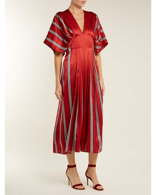 922acfc213 Lyst - ROKSANDA Mihara Pleated Striped Silk-satin Midi Dress in Red ...