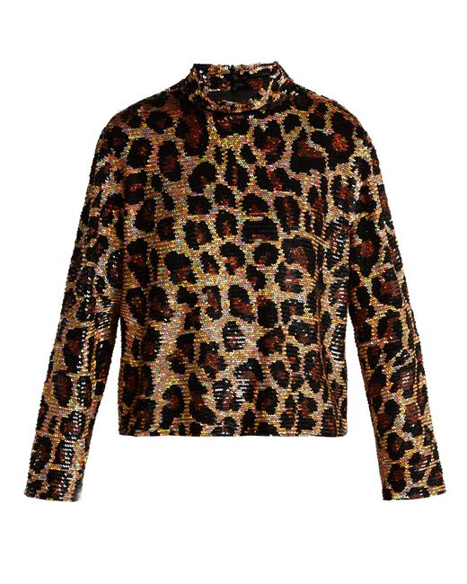 Ashish - Brown Leopard Print Sequined Top - Lyst