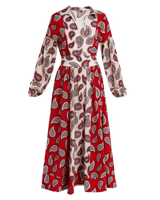 Dodo Bar Or | Red Harrison Paisley-print Silk Midi Dress | Lyst