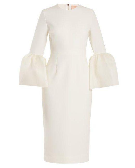 Women's White Margot Bell Cuff Cady Dress by Roksanda