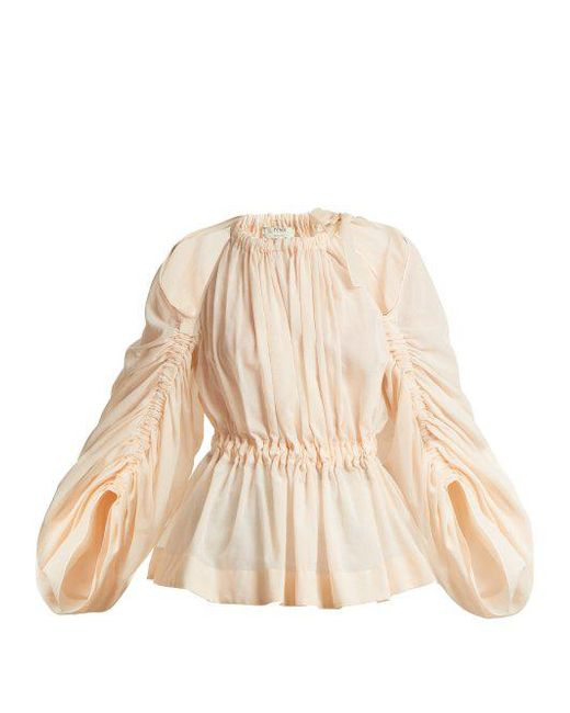 Ruched cotton-voile top Fendi Footlocker Cheap Price Cost hDs8ODr6Z