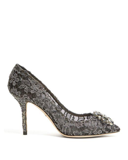 46e11c50d3cf Lyst - Dolce   Gabbana Bellucci Crystal Embellished Lace Pumps in Black