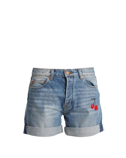 Bliss and Mischief | Blue Cherry-embroidered Denim Shorts | Lyst