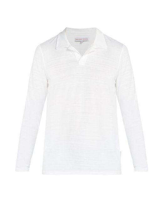Orlebar Brown - White Felix Long Sleeved Polo Shirt for Men - Lyst