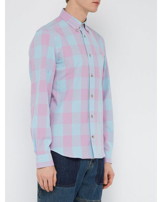 91a67e6284 Lyst - Acne Studios Checked Cotton Blend Shirt in Blue for Men