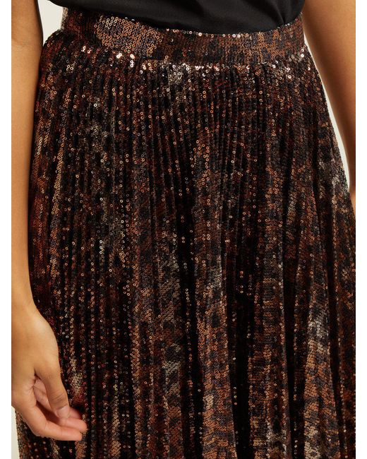 081202037b ... MSGM - Multicolor Pleated Leopard Sequinned Skirt - Lyst