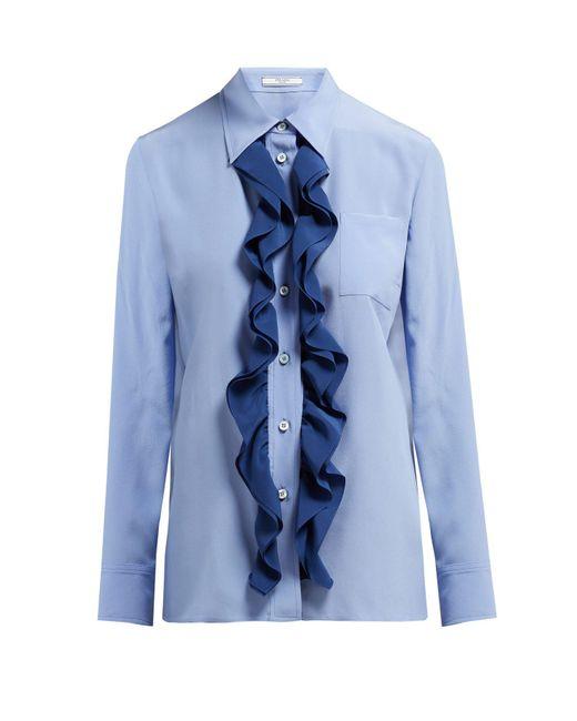 8345e19f544a7 Prada - Blue Ruffle Trimmed Silk Blouse - Lyst ...