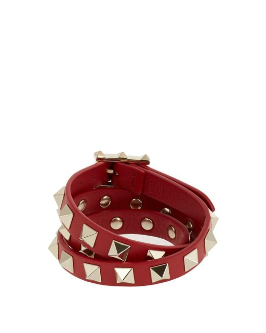 Valentino | Red Rockstud Wrap-around Leather Bracelet | Lyst