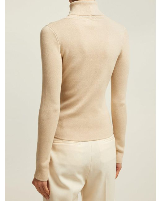 0b6c3e6adedb19 ... See By Chloé - White Bisous Roll Neck Cotton Blend Sweater - Lyst ...