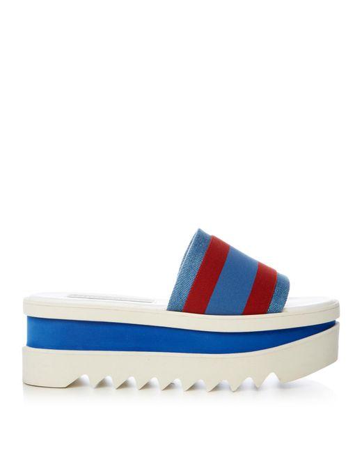 Stella McCartney - Blue Striped Fabric Platform Slide Sandal - Lyst