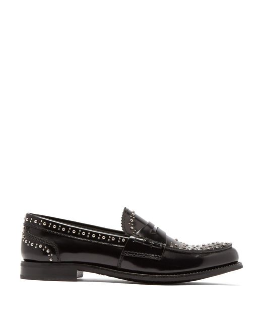 Church's - Black Pembrey Studded Penny Loafers - Lyst