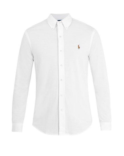 Polo Ralph Lauren - White Logo-embroidered Cotton-piqué Shirt for Men - Lyst