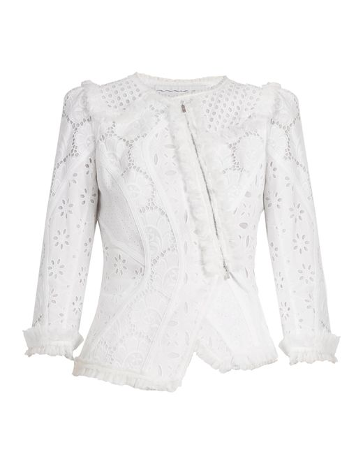 Andrew Gn | White Asymmetric Broderie-anglaise Cotton Jacket | Lyst