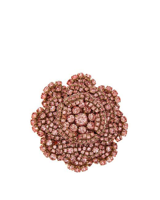 Rebecca de Ravenel - Pink Ava Crystal Embellished Flower Brooch - Lyst