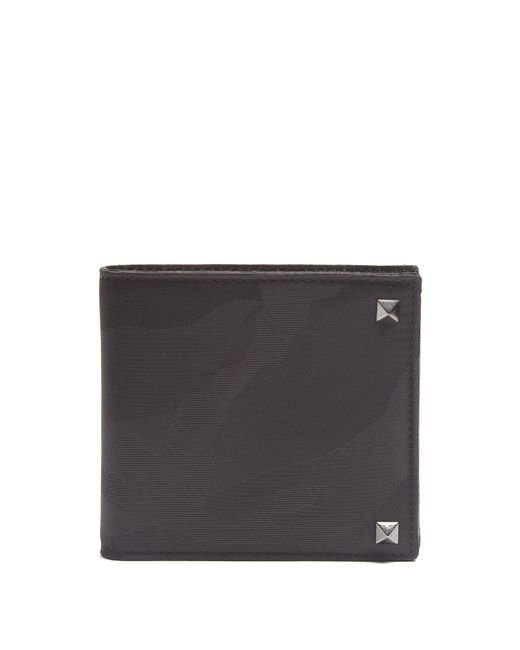 Valentino | Black Rockstud Embellished Camouflage-print Wallet for Men | Lyst