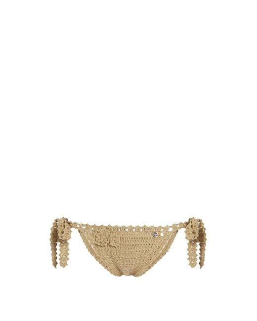 She Made Me - Blue Jannah Tie Side Crochet Bikini Briefs - Lyst