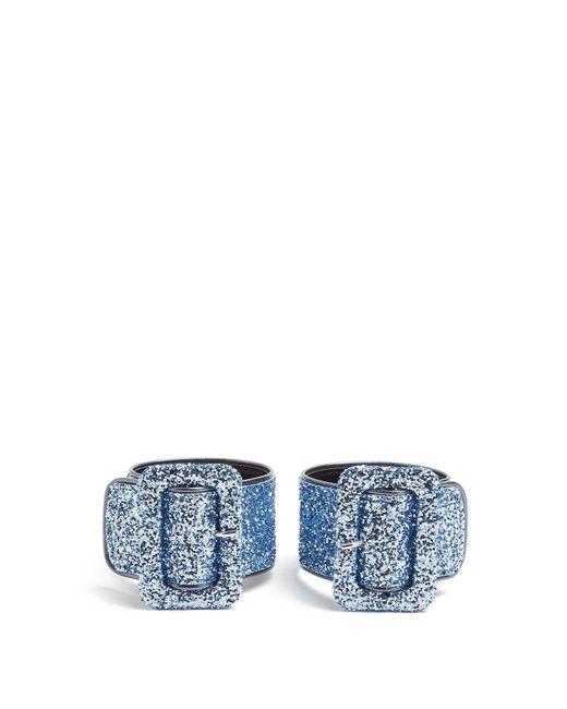 Attico - Blue Glitter Embellished Ankle Straps - Lyst