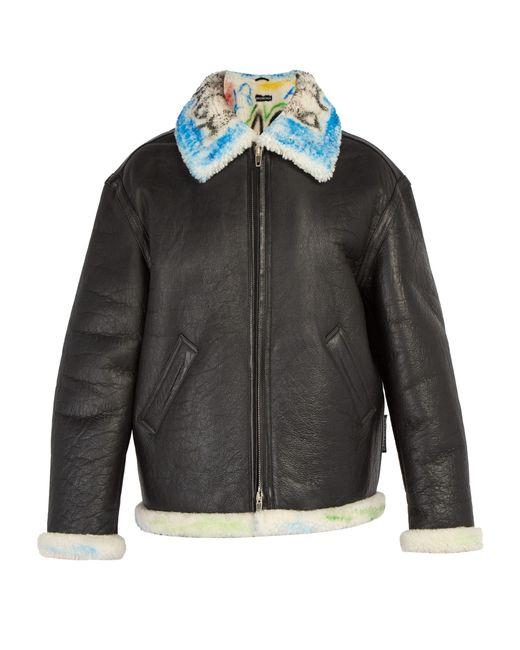 Balenciaga - Black Graffiti Shearling Jacket for Men - Lyst