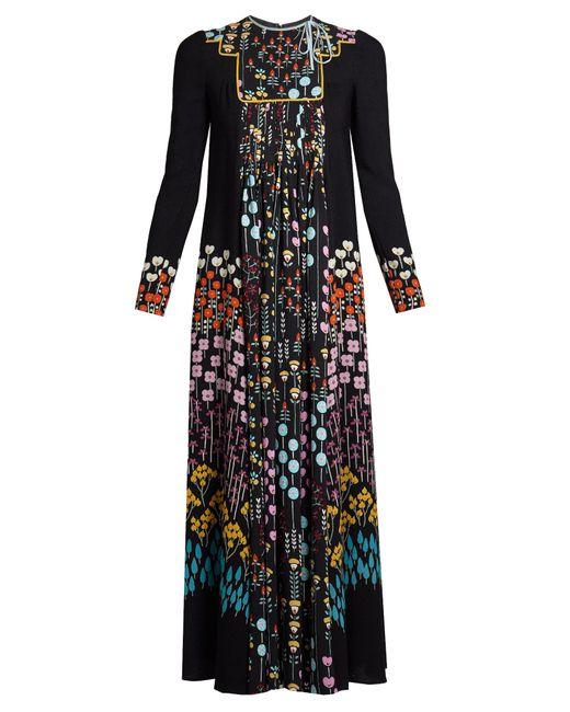 Valentino | Black Floral-print Ruffled-neck Dress | Lyst