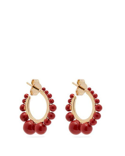 Ana Small Earrings in Coral Color Pearls and 18K Gold-Plated Brass Aurélie Bidermann 100% Authentic Cheap Online Outlet Marketable fapjPMI