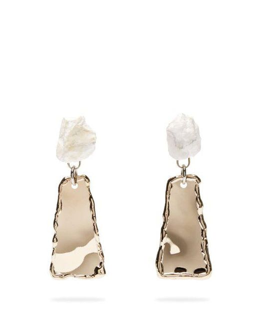 Proenza Schouler - Gray Stone Hammered Clip-on Earrings - Lyst