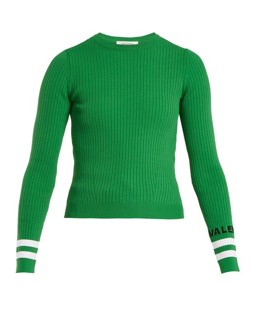 Valentino - Green Crew Neck Ribbed Knit Sweater - Lyst